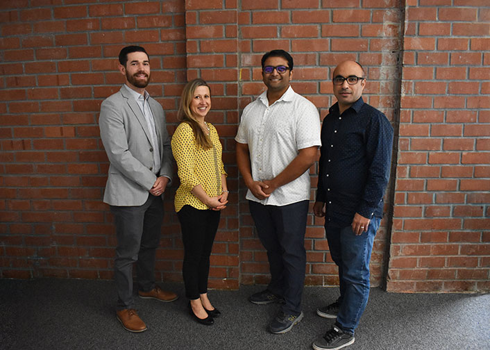 The newest faculty fellows at Cal Poly's Center for Innovation & Entrepreneurship include four faculty members from the Cal Poly's College of Engineering, from left, Chris Heylman (biomedical engineering), Lauren Cooper (mechanical engineering), Javin Oza (chemistry and biochemistry) and Hani Alzraiee (civil engineering).