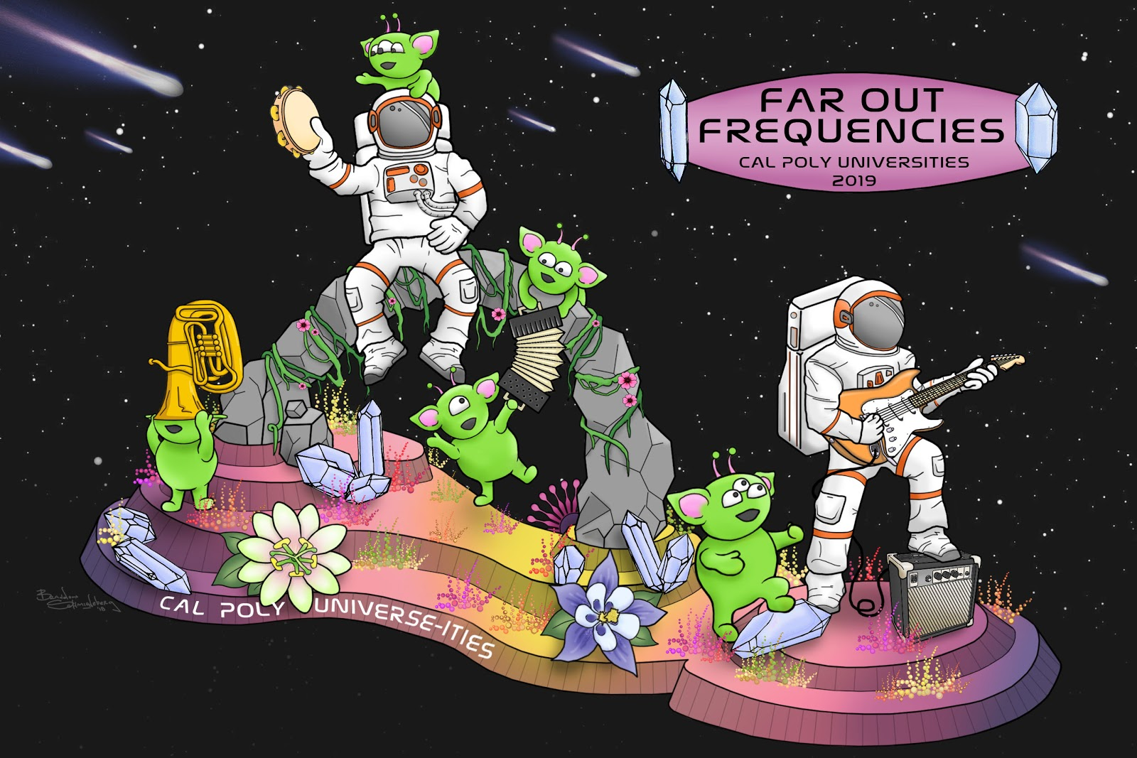"Rendering of the 71st Rose Float entry, ""Far Out Frequencies"""