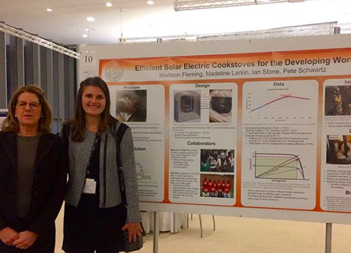 Madison Fleming, pictured next to her poster at the student competition at MIT.