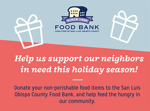 Help the Food Bank support neighbors in need this holiday season by donating non-perishable items.