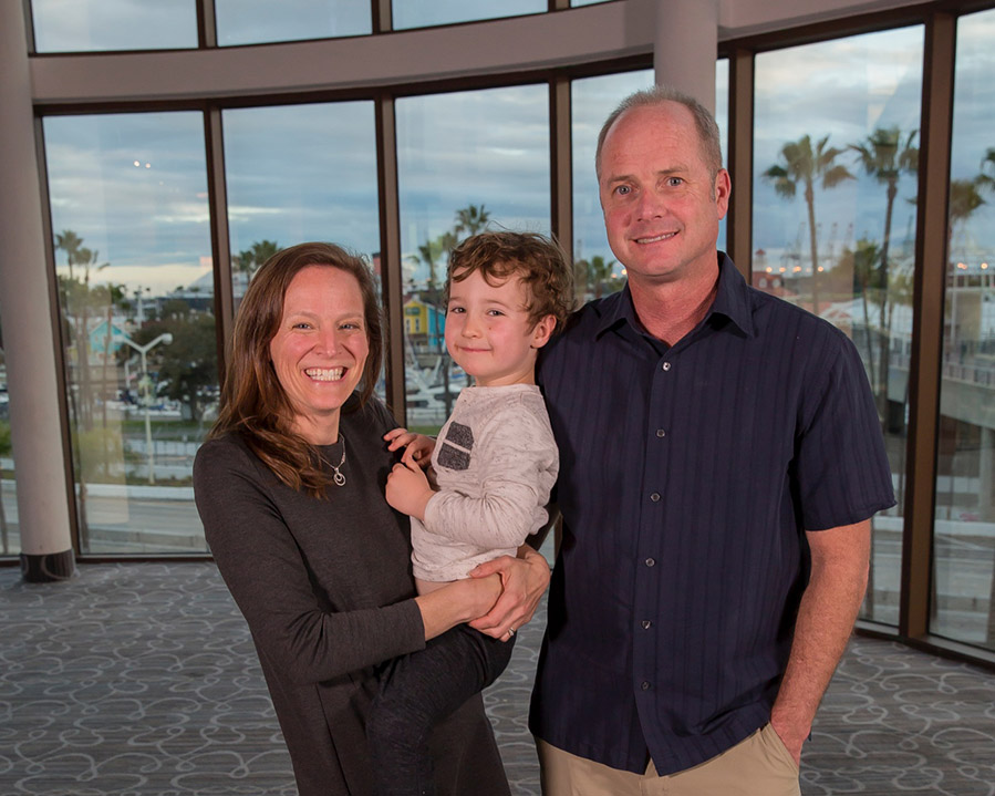 Professor Marni Goldenberg, left, with son, Reed, and husband, Jon Hanlon, at the 2018 California Park and Recreation Society awards recognition banquet.