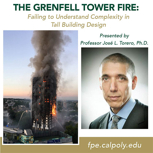 Failure to Understand Complexity in Tall Building Design with photos of the building on fire and Professor Jose L. Torero