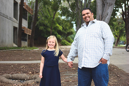 Jeremiah Hernandez, an ethnic studies and sociology student, with his daughter, Savannah.