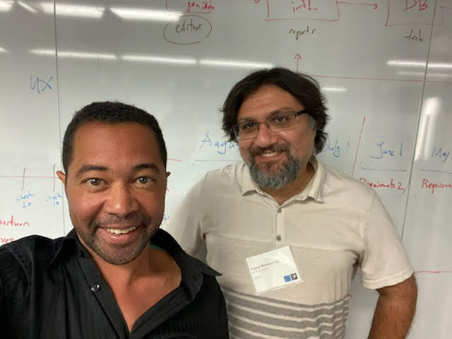 Professors Lindsay Grace, left, of the University of Miami and Foaad Khosmood of Cal Poly are co-primary investigators for a grant that will allow artificial intelligence to aid statehouse reporting