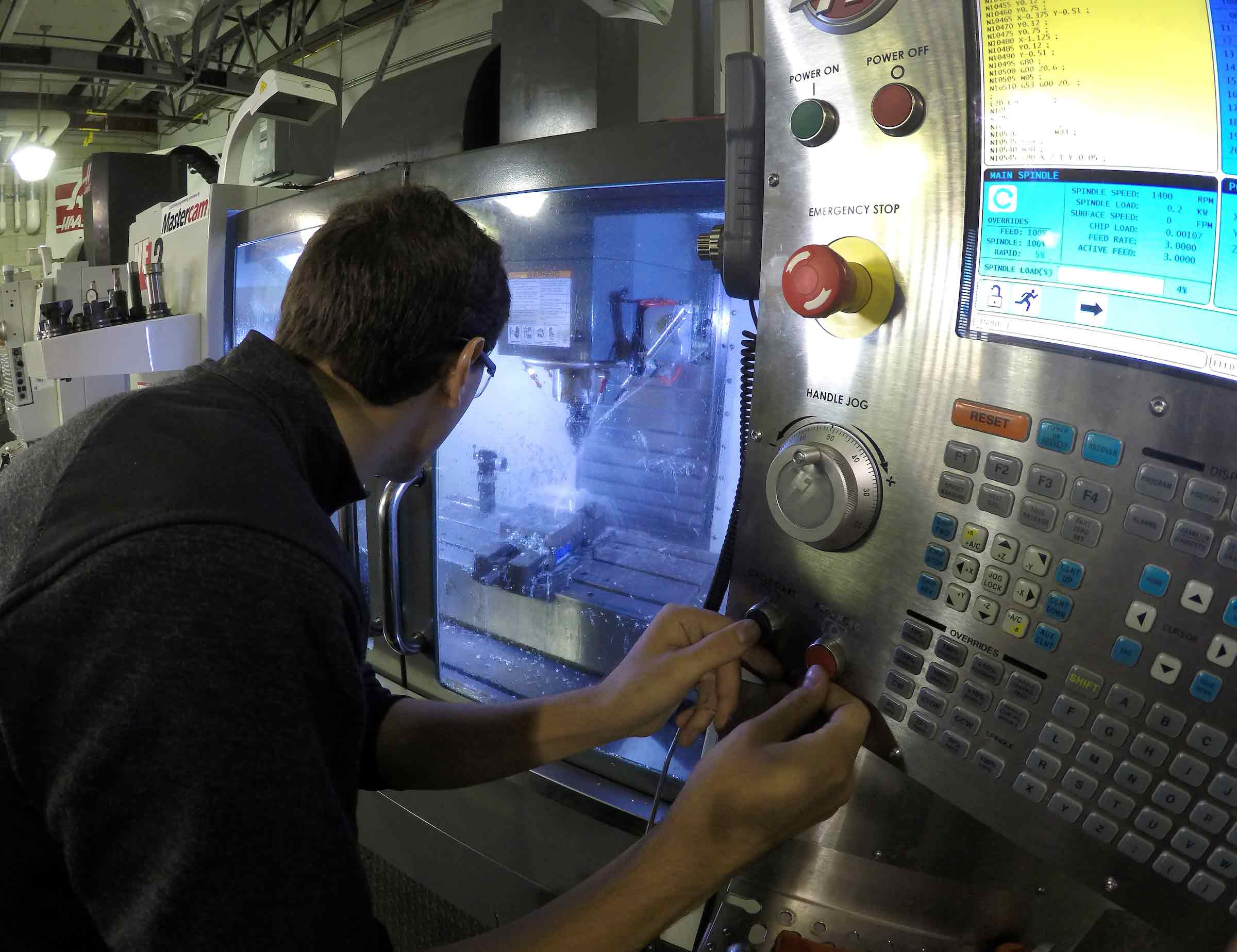 Brian Hillenbrand (Mechanical Engineering, '19) works in the advanced machining lab as a student. The advanced machining lab and the material removal lab will both be renamed in honor of a $350,000 donation from the Gene Haas Foundation.