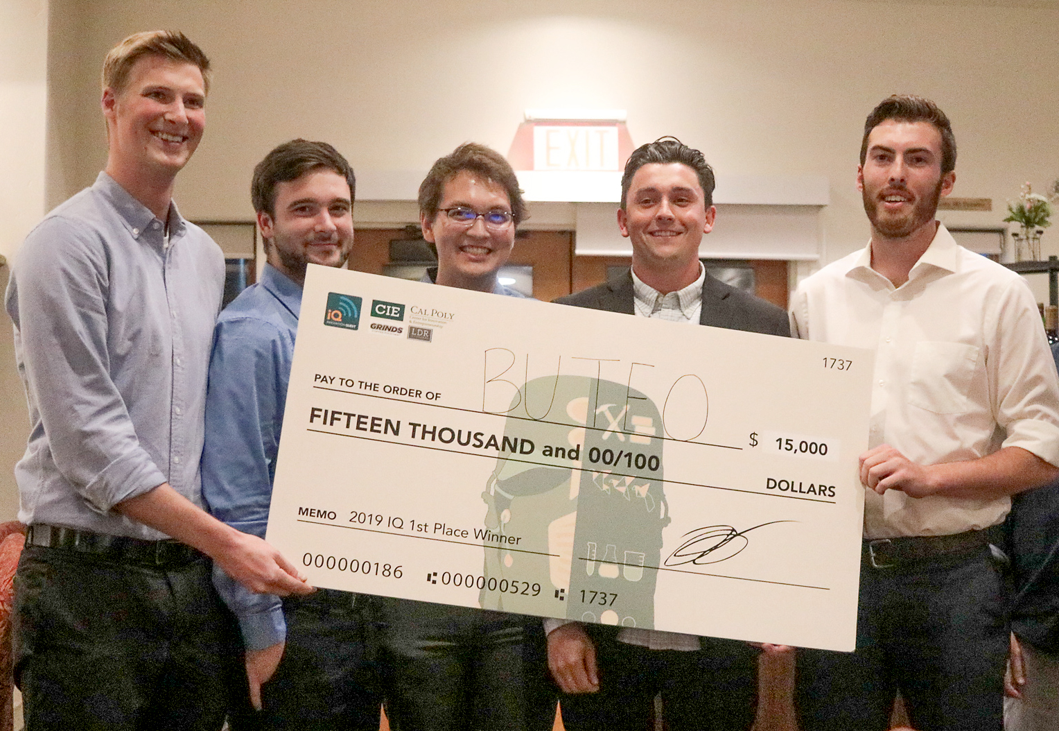 Members of Buteo, a student innovation project that is developing a bird detection and deterrent technology for berry crop farmers, took first place at Cal Poly Center for Innovation and Entrepreneurship's 14th annual Innovation Quest competition on April 27. From left are team members Ryan Dunn, Jackson Reznicek, Sean Wallace, Hayden Hudgins and Kyle Wuerch.