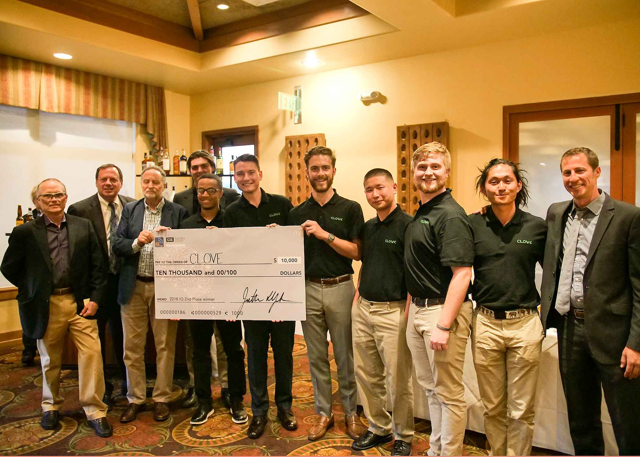 Members of Clove, a device that automatically grows and maintains up to 24 plants for culinary use with little to no user interaction, stand with judges after receiving the 2018 Innovation Quest's $10,000 second-place honor on April 28 at the San Luis Obispo Country Club. The competition was sponsored by Cal Poly's Center for Innovation and Entrepreneurship.