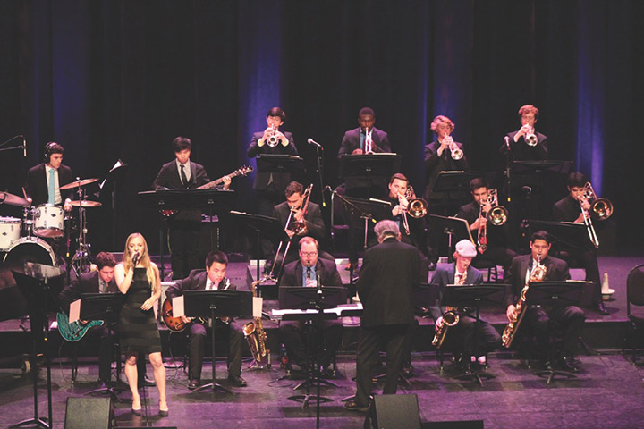 A photo from last year's Fall Jazz Concert, with Paul Rinzler directing.