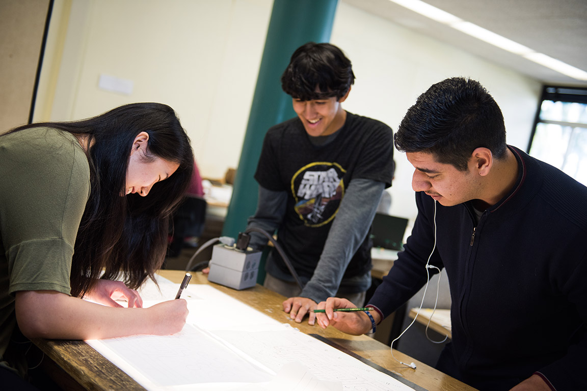 Landscape architecture students collaborate in this file photo.