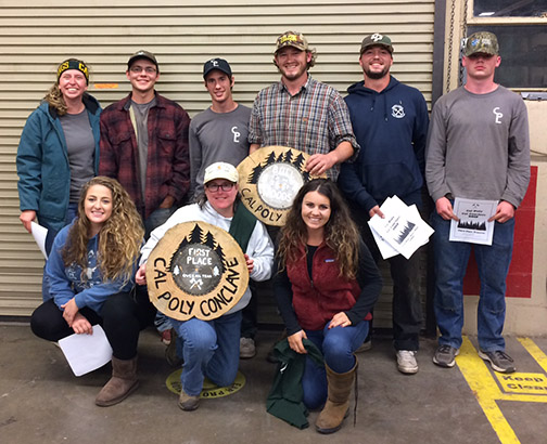 Cal Poly Logging Team posing with their first place award