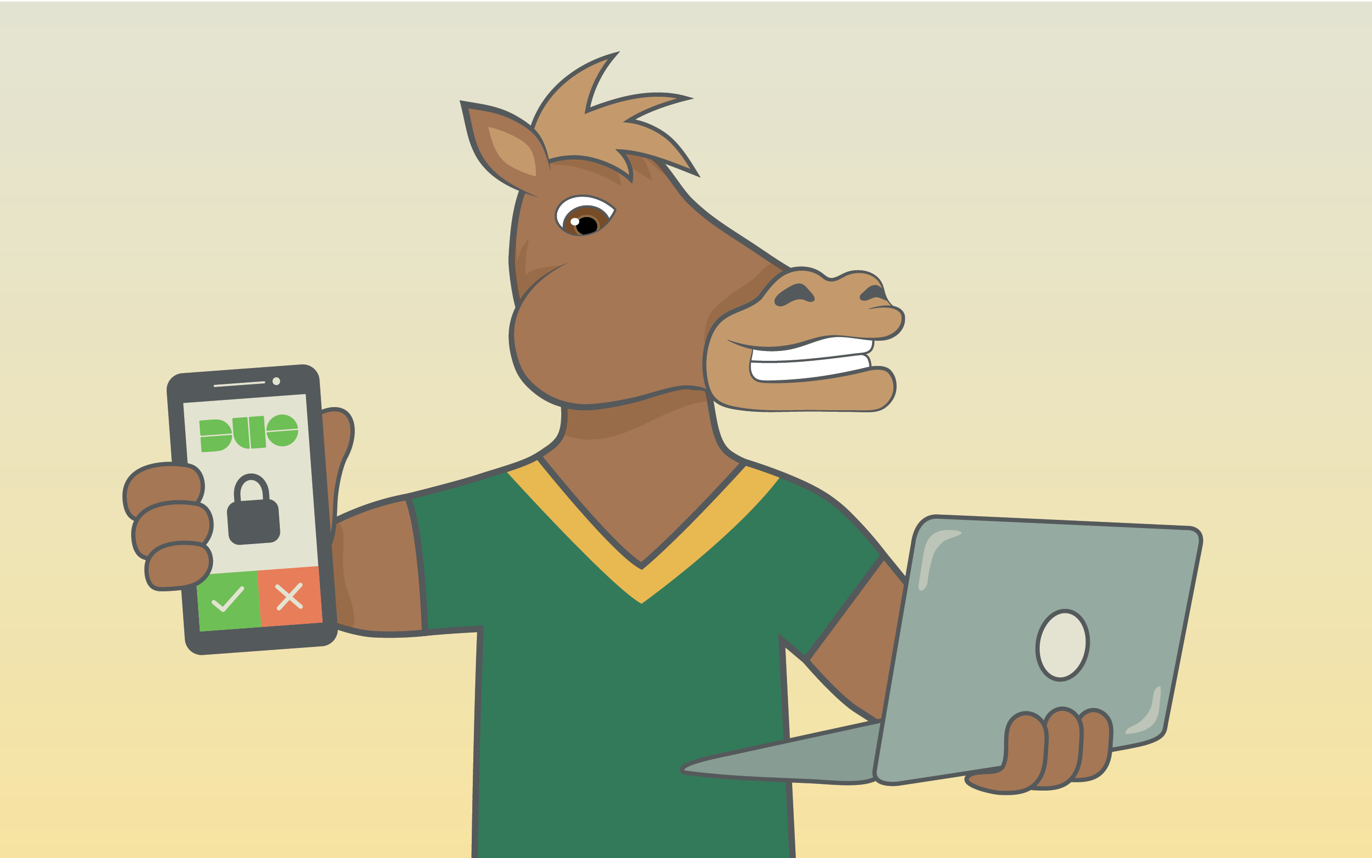 Illustration of Musty the Mustang holding a phone in one hand and a laptop in the other