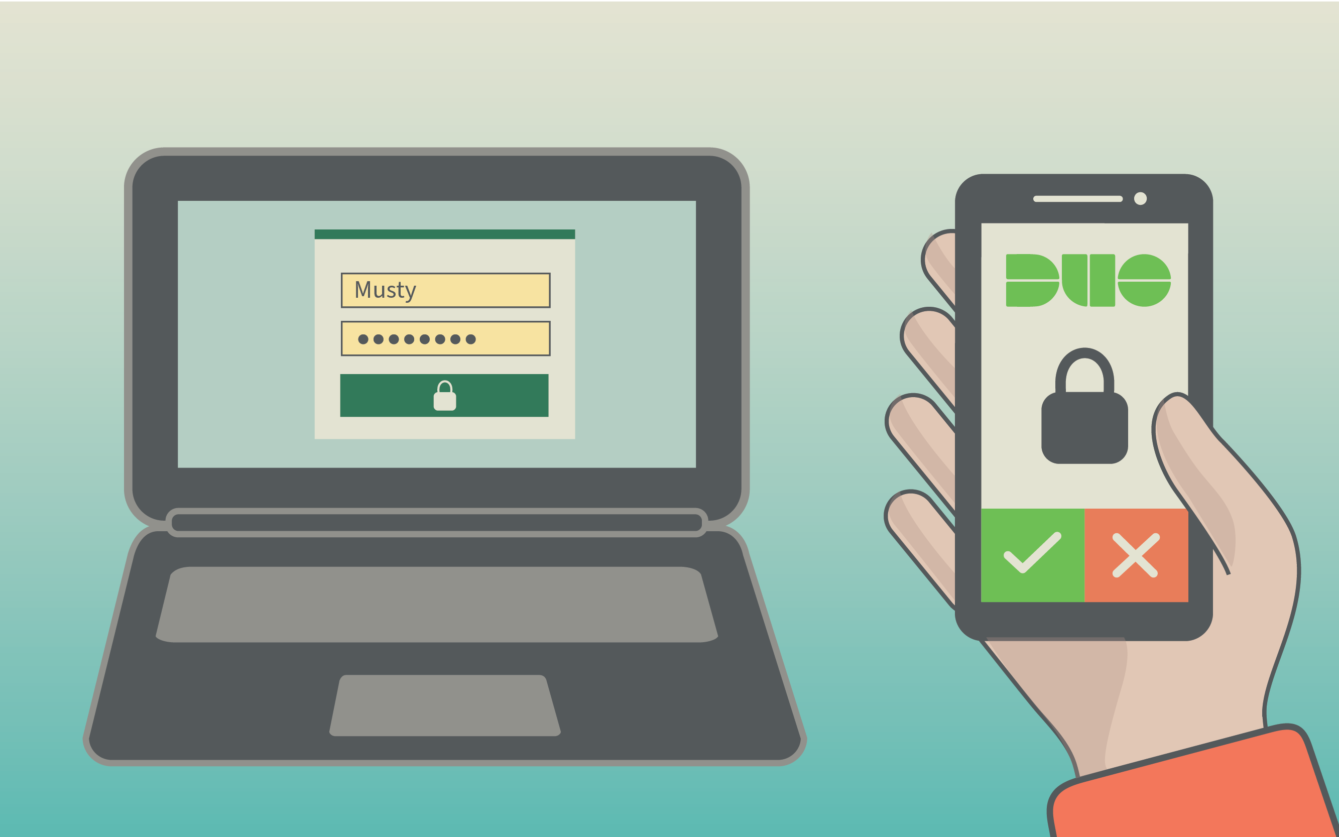 Illustration of laptop computer with someone holding a phone with Duo multi-factor authentication
