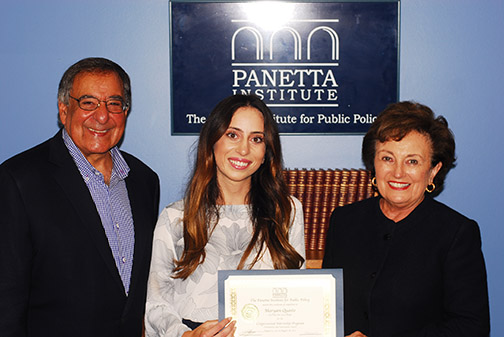 Cal Poly's 2017 Panetta intern, Maryam Quasto, is pictured with Secretary and Mrs. Panetta