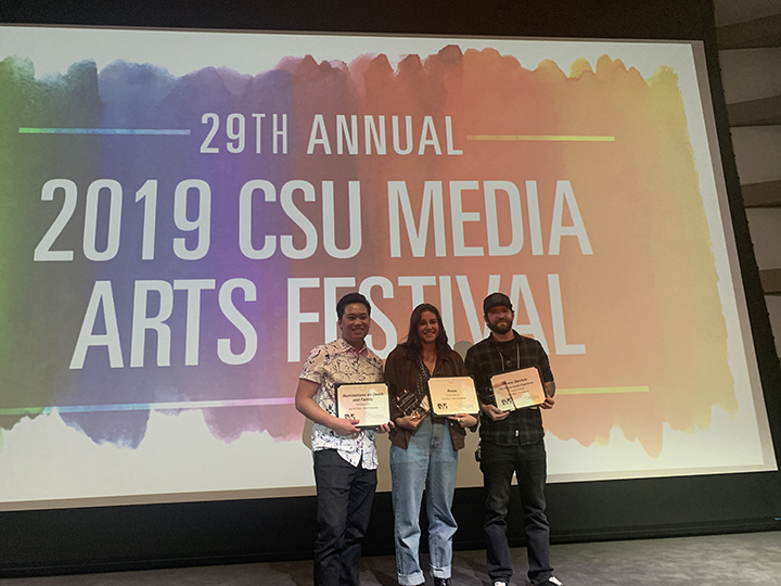 From left, Cal Poly students Matthew Lam, Shanti Herzog and Casey Wieber with their awards at the CSU Media Arts Festival.