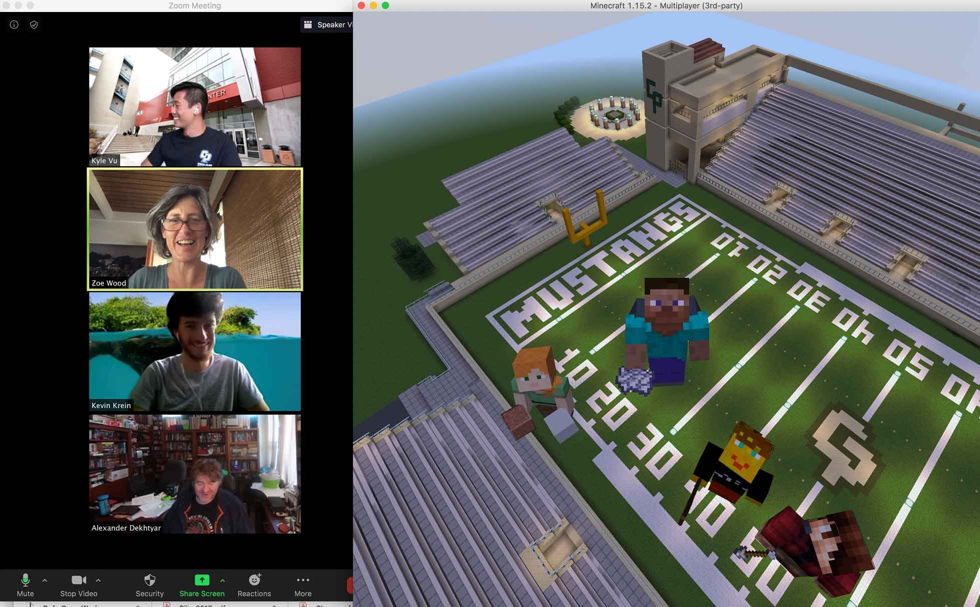 "Some of the creators of the Minecraft Cal Poly campus ""fly"" over Spanos Stadium with their avatars. Pictured are, top to bottom, Kyle Vu, Zoë Wood, Kevin Krein and Alex Dekhtyar."