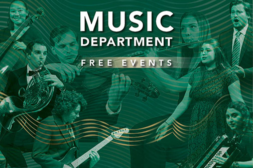 Music Department Free Events promotional image with photos of several musicians
