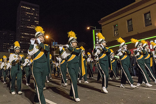 Photo of Mustang Marching Band performing in San Francisco.