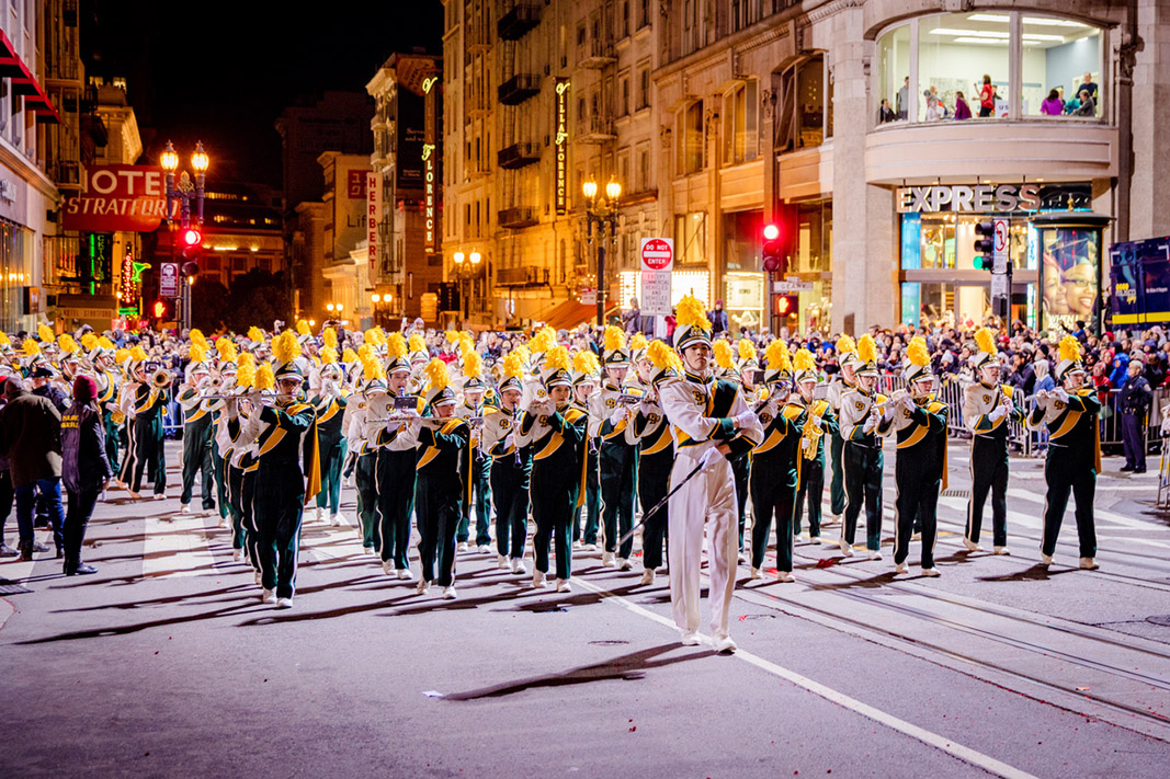 The Cal Poly Mustang Marching Band performs at the Chinese New Year Parade in San Francisco in 2018.