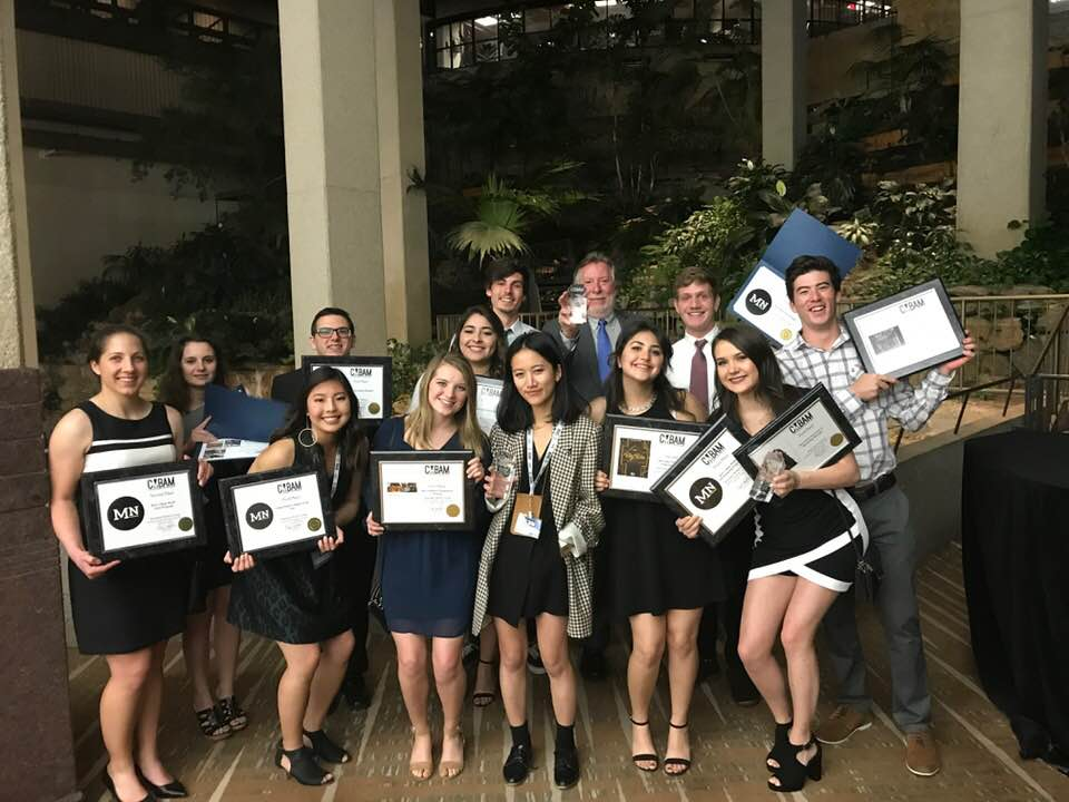Leaders of Cal Poly's student-run Mustang Media Group show their awards following the College Media Business and Advertising Managers annual awards ceremony in Kansas City, Missouri, in March.