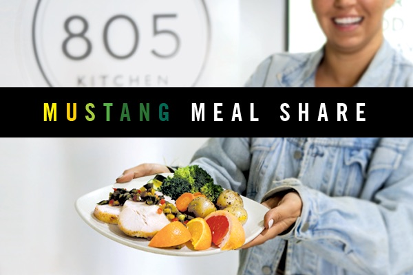 "Photo of a plate of food with text reading ""Mustang Meal Share"""