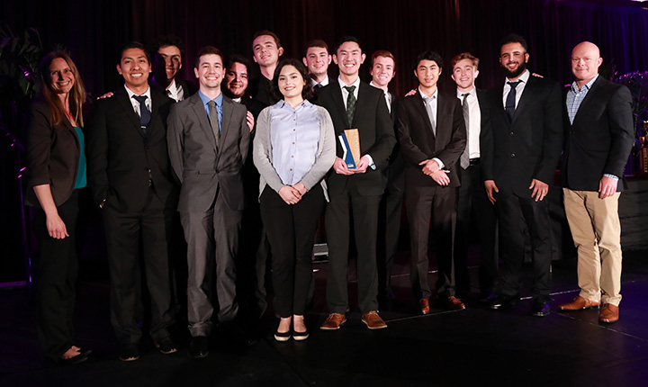 Stacy Kolegraff (faculty adviser), Eric Martinez, Jeffrey Hammond, Tyler Hall, Alexander Gama, Trevor Nally, Sarah De Los Reyes, Thomas Fuentez, Jeremy Suryadi, Tyler Ingel, Jeffrey Phunmongkol, Carter Jones, Abraham Ahmed and Scott Kelting (faculty adviser).