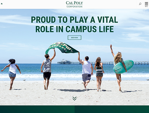 screenshot of the new Cal Poly Corporation website with students running on the beach, reading Proud to Play a Vital Role in Campus Life