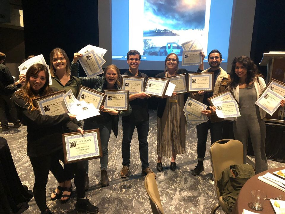 From left, Digital Manager Rachel Marquardt, Print Manager Quinn Fish, Video Manager Rachel Showalter, Editor-in-Chief Austin Linthicum, Social Media Manager Lauren Arendt, Photo Manager Zachary Donnenfield and News Editor Cassandra Garibay accepted multiple landmark awards at the competition, including best website, best mobile site/app, and best print weekly newspaper, propelling the student media group to second place Media Company of the Year.