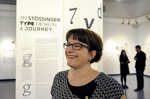 Nina Stössinger, a Swiss typeface designer, at her show at University Art Gallery.