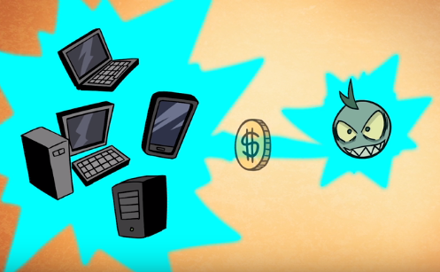 Illustration showing computers and mobile devices, a coin and an evil hacker face.