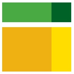 OUDI Logo - a square with green, orange and yellow colors.
