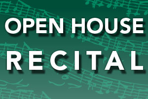 Image with text reading Open House Recital on green background with musical notes.