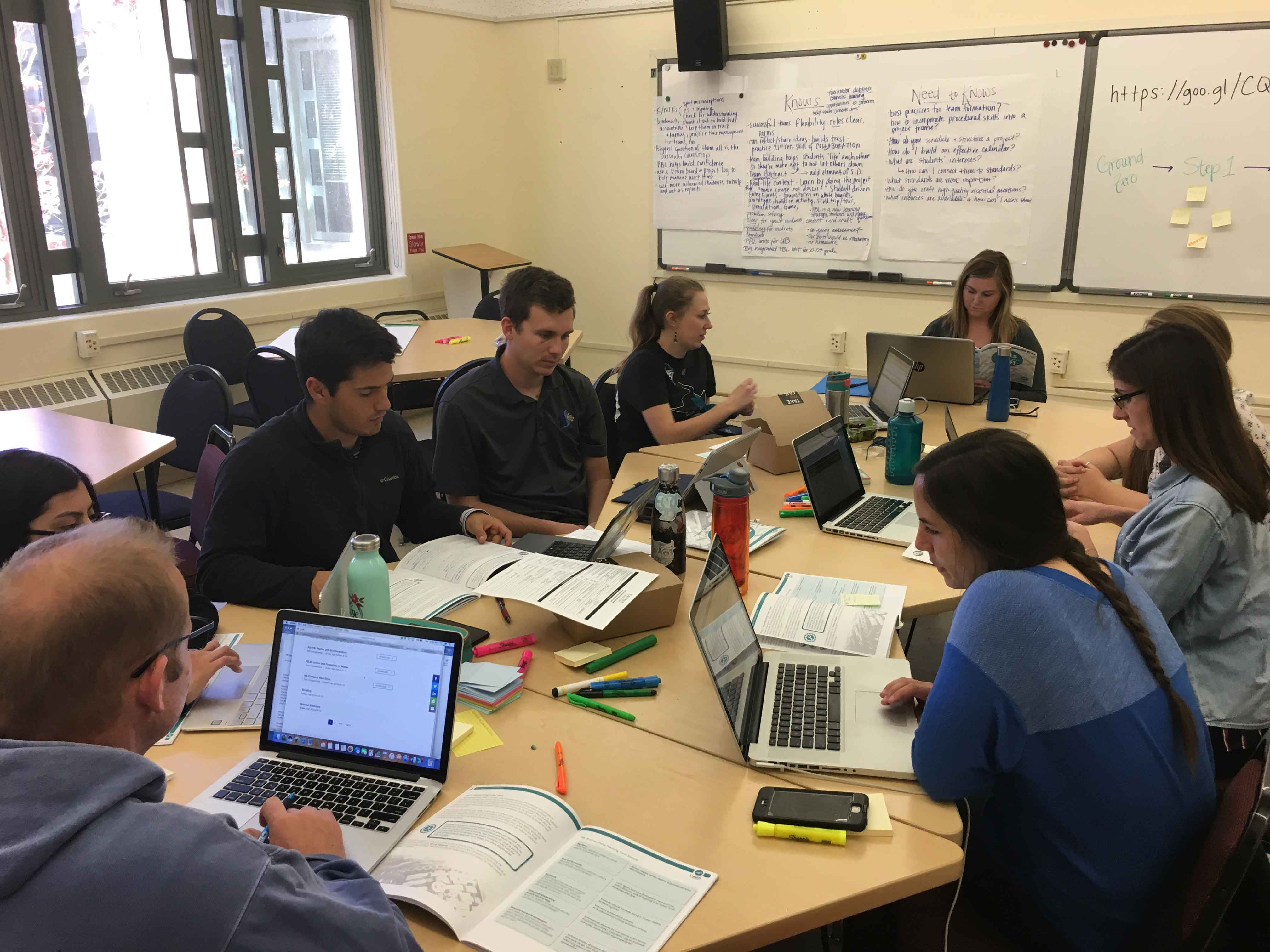 Teachers from Central Coast New Tech High School facilitate training sessions totaling 18 hours for Cal Poly teacher credential candidates who will serve as Summer Academy instructors.