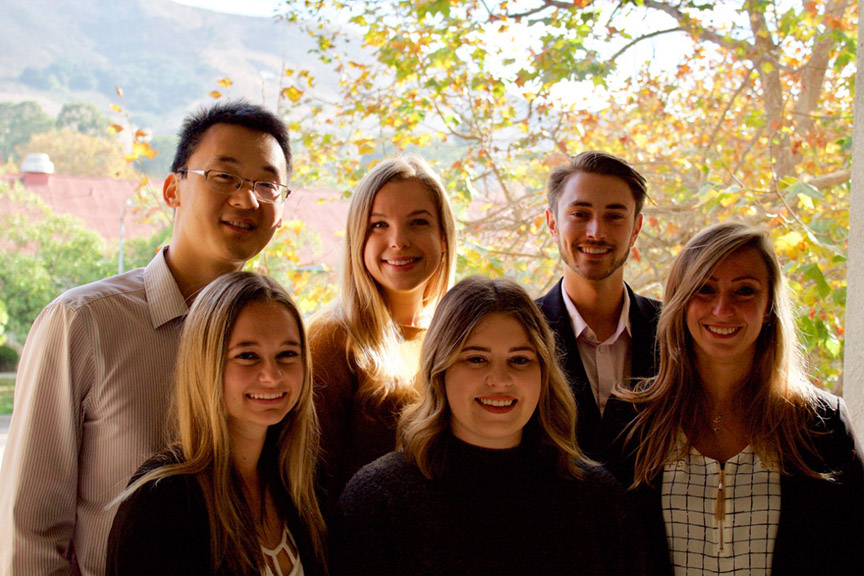 Assistant Professor Kevin Lin, Olivia Larsen and Luke Haley (back row l to r); and Courtney Frickman, Morgan Cutter and Chrissy Baur (front row l to r).