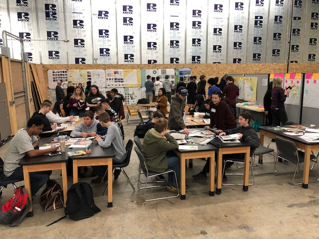 Cal Poly students meet with Paradise High School students during Cal Poly's trip to Butte County in January. Paradise High students are currently studying in a temporary location in Chico. Cal Poly architecture student Sophia Smith is standing at right in the foreground of the photo.