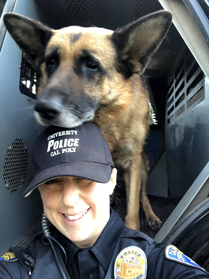 Cal Poly Officer Stephanie Pipan and Xello worked together for four-and-a-half years in the Morro Bay Police Department before coming to Cal Poly.