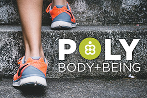 Photo of running shoes with text reading Poly Body + Being