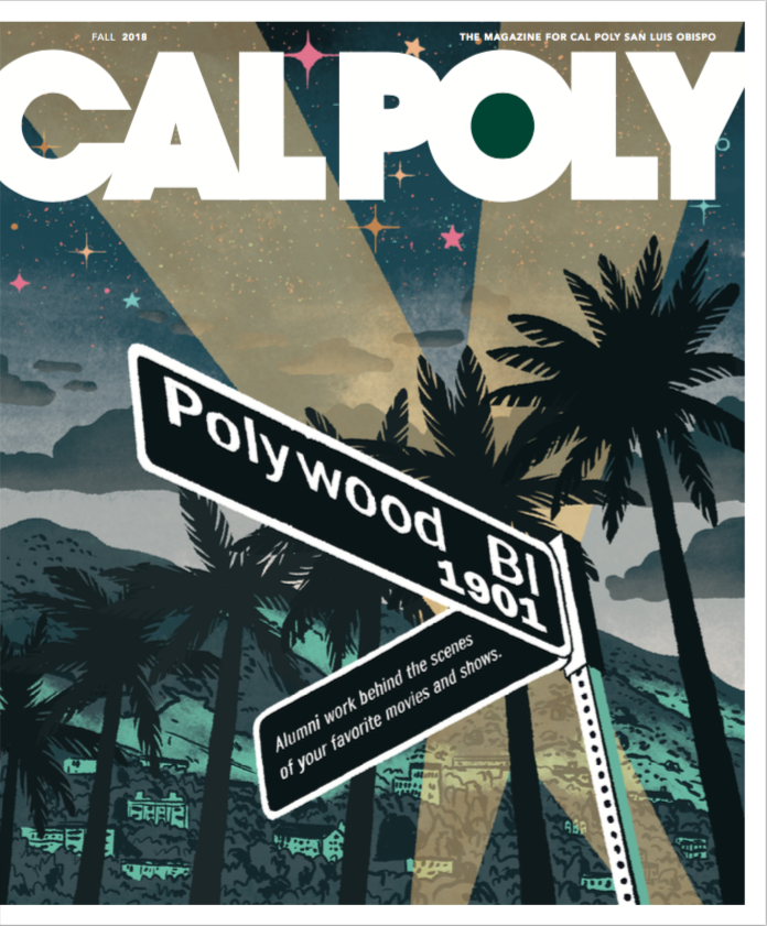 Photo of the cover of Fall 2018 Cal Poly Magazine with Polywood Bl sign.