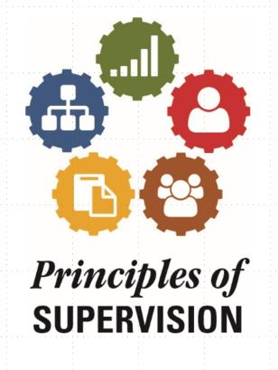 Principals of supervision logo with five different colored cogs