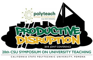 Logo for Productive Disruption, the 20th CSU symposium on university teaching at Cal Poly Pomona.