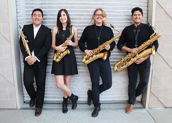 The student saxophone is pictured, from left to right, software engineering major Victor Wei, soprano saxophone; history major Paige Rooney, alto saxophone; mechanical engineering major Isaac Becker, tenor saxophone; and civil engineering and music double major Noah Scanlan, baritone saxophone.