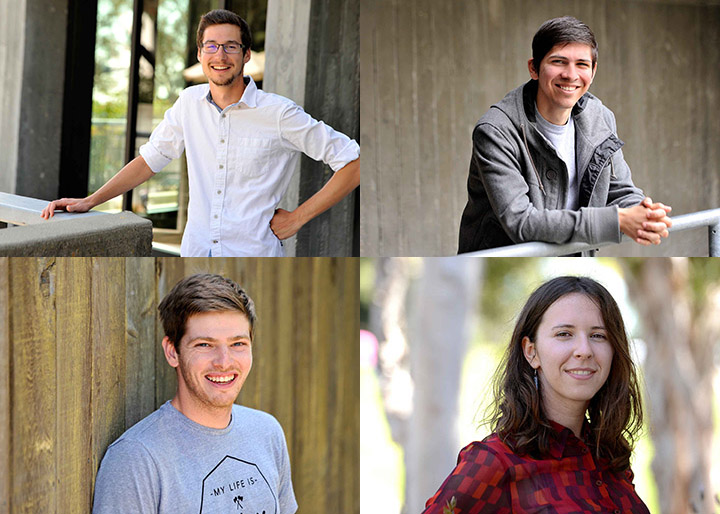 Tobias Bleisch, software engineering graduate student (top left); Daniel Haro, biology graduate student (top right); Leah Thomas, psychology major (bottom right); Christopher Hatch, biomedical engineering major (bottom left)