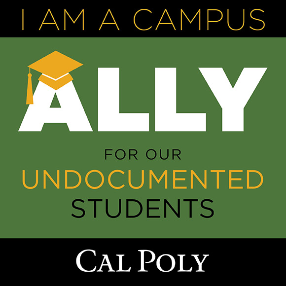 Logo reading I am a campus ally for undocumented students