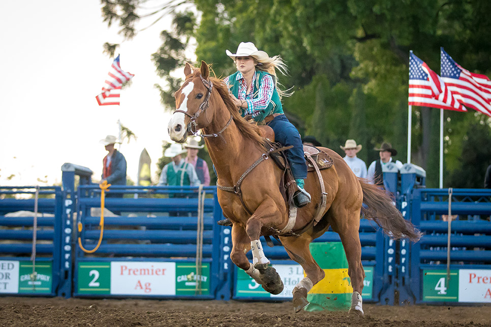 A photo of a rider during the 2017 Poly Royal Rodeo at Cal Poly