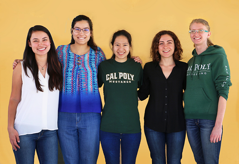 Cate Kraska (civil engineering), Rebecca Kandell (biomedical engineering), Amy Tsai (computer science), Naomi Hennefeld (environmental engineering) and Alaina Standish (aerospace engineering).