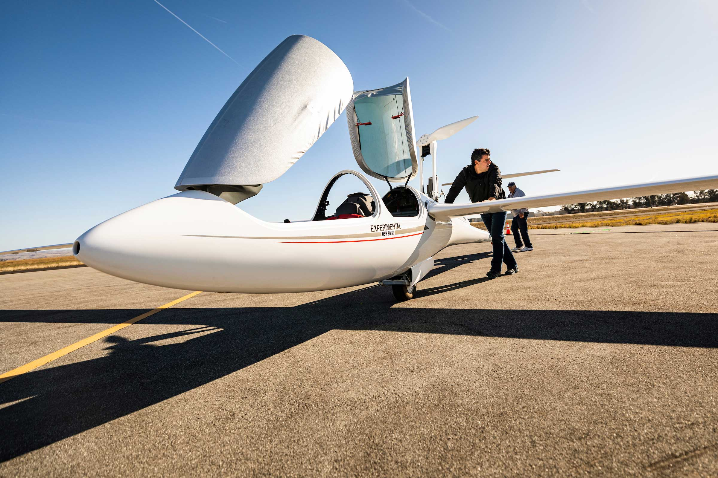 Paulo Iscold, an associate professor in the Aerospace Engineering Department, led the proposal to for Cal Poly to work with the Air Force Research Lab on technologies for unmanned aerial research. Iscold has designed several planes, including this glider, which broke several records.