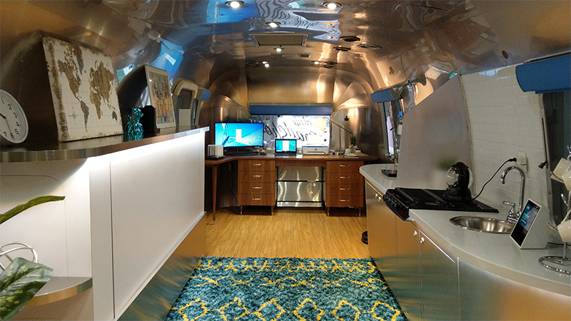 The interior of the Smart Life Roadshow Airstream trailer