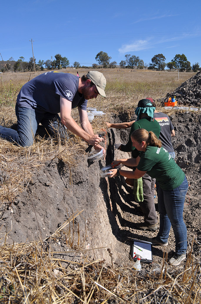 Cal Poly students examine the soil and collect samples during the competition. From left are Braden Povah, Katie White, Angel Ramirez and Blake Toney.