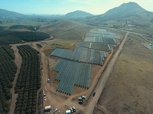 Arial image of Cal Poly's new solar farm