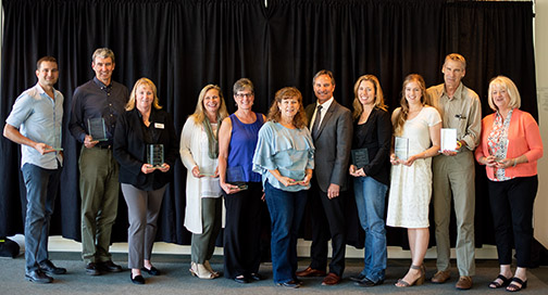 Photo of individuals recognized by the College of Agriculture, Food and Environmental Sciences with outstanding faculty and staff awards.
