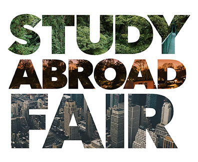 Graphic illustration reading Study Abroad Fair